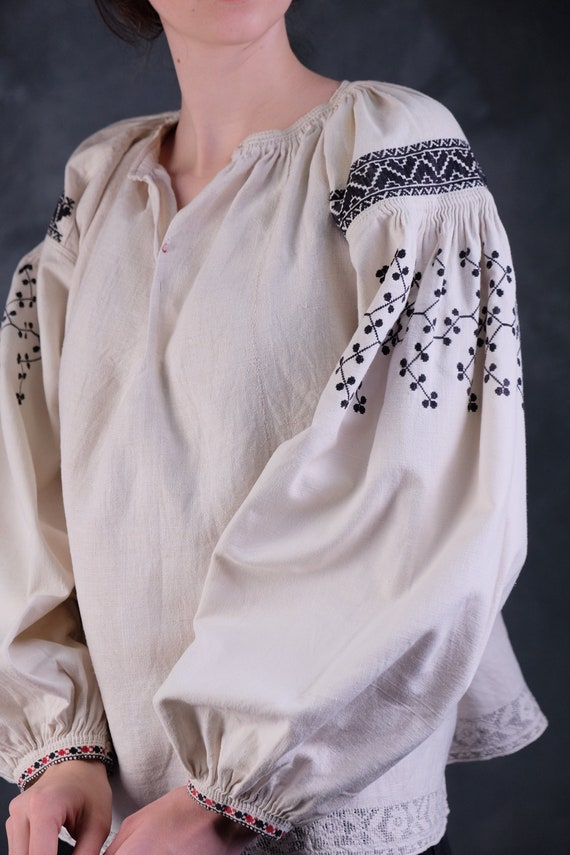 BLACK EMBROIDERED antique shirt Soft linen blouse