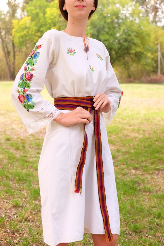 BEADWORK on linen dress! Pure linen homespun dres… - image 1