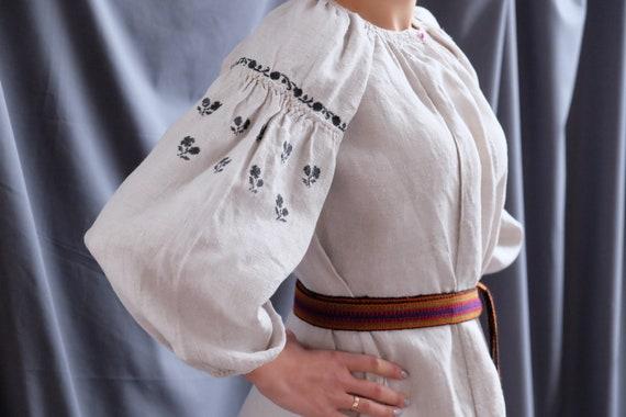 Black embroidered shirt Vintage hemp dress Ukraini