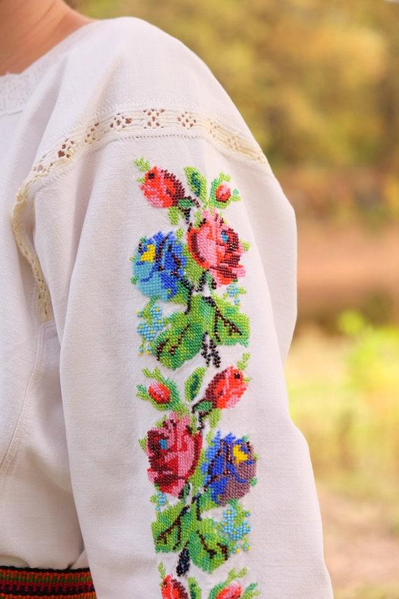 BEADWORK on linen dress! Pure linen homespun dres… - image 5