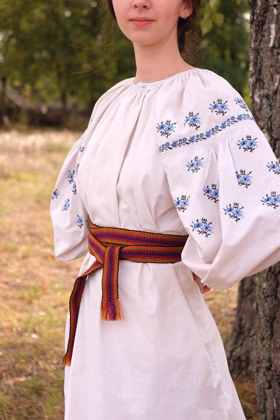 Blue embroidery Folk shirt Ukrainian dress Embroid