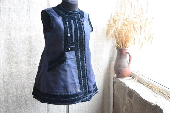 So noble dark blue vest! Antique Ukrainian vest Et