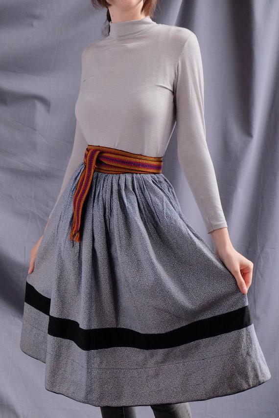 Antique blue skirt Blue grey skirt Vintage skirt V