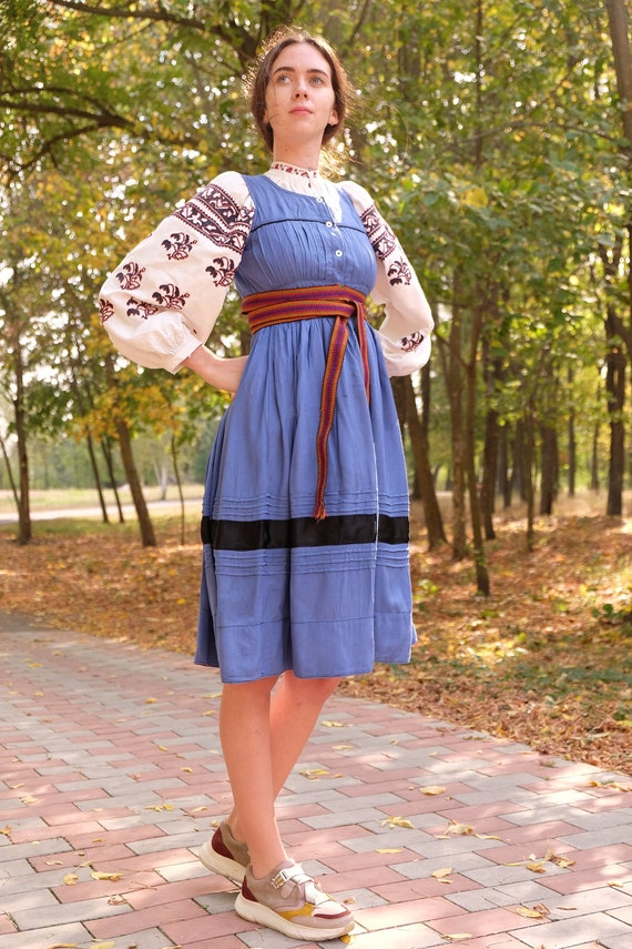 Antique blue sundress Vintage sundress Ukrainian s
