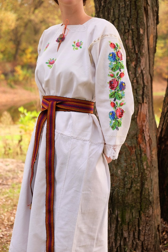 BEADWORK on linen dress! Pure linen homespun dres… - image 3