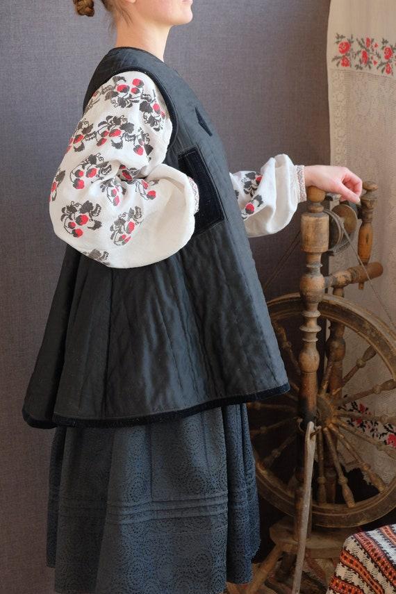 Black antique corset Ukrainian corset Autumn Winte