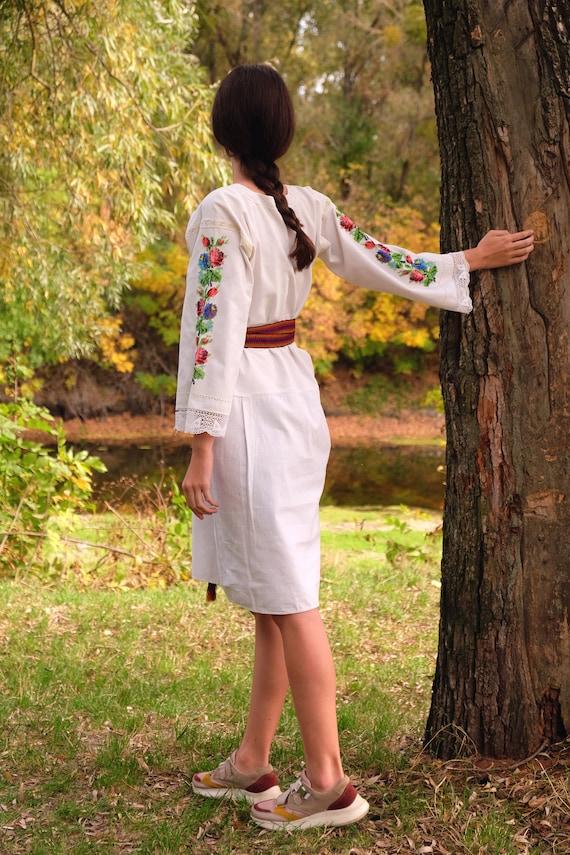 BEADWORK on linen dress! Pure linen homespun dres… - image 8