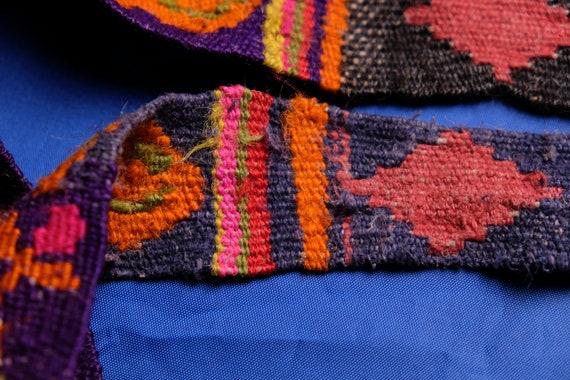 Antique woven belt Flower belt Ukrainian belt Vintage belt Woolen belt