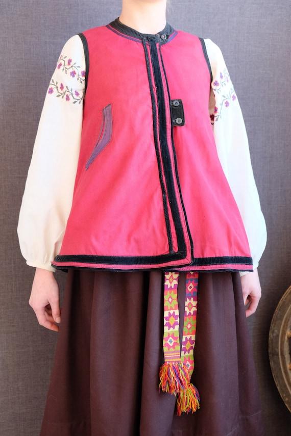 Ancient RED vest!  Antique Ukrainian vest Ukrainia