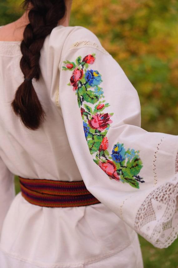 BEADWORK on linen dress! Pure linen homespun dres… - image 2