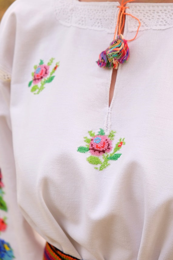 BEADWORK on linen dress! Pure linen homespun dres… - image 6