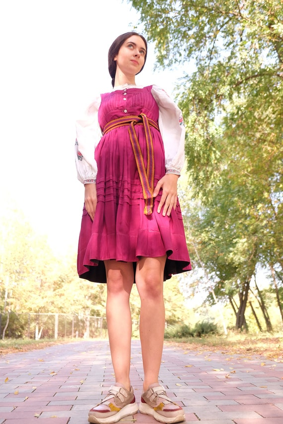 Dark pink sundress Traditional Ukrainian sarafan B