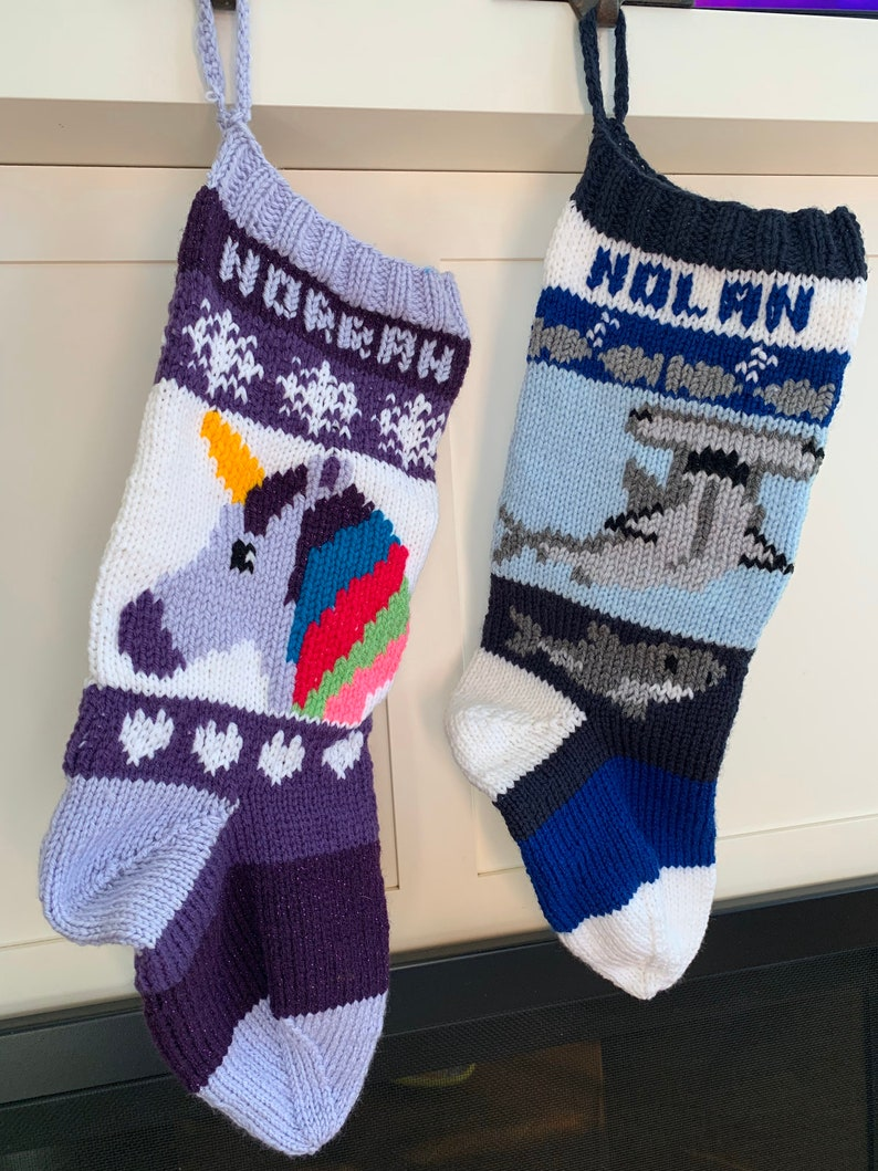 Personalized Knit Stocking Hand Made