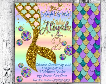 Mermaid Invitation Birthday Party Under The Sea Blue Purple Digital