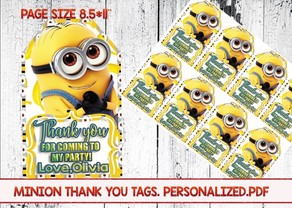 image about Printable Minions Birthday Card named Minion Thank on your own tags, Minion birthday tags, Minion Lady Birthday, Minion Social gathering,Minion Printable, Minions Birthday Get together, Minion Card