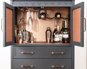 SOLD***Drinks Cabinet, Bar, Cocktail Cabinet, Art Deco, Harris Lebus, Grey,  Copper