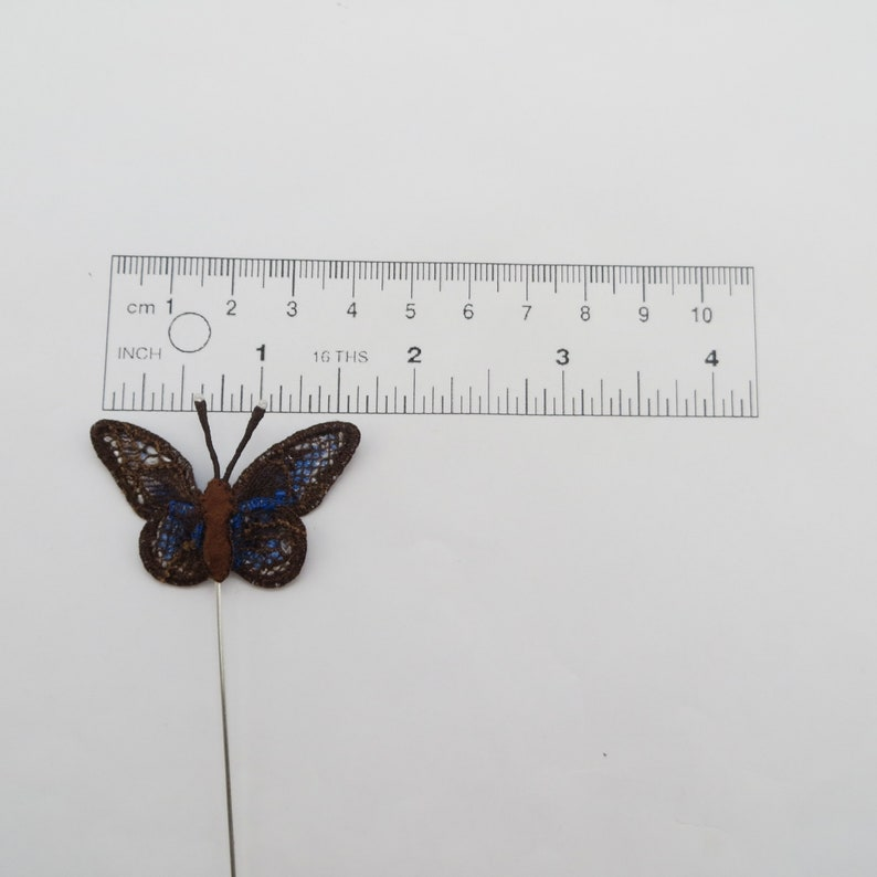 miniature. Jewelry gift textile insect Miniature brooch hand embroidery blue  butterfly botanical collection