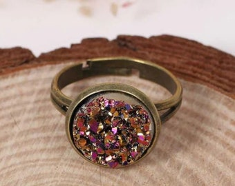 Handmade Jewelry Cocktail Ring . Size 7 . Druzy Ring . Drusy Ring . Pink Drusy Ring . Drusy Jewelry .