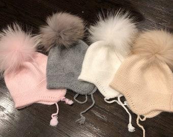 4e02f20f333 Cashmere Earflap Cashmere Baby Raccoon fur Pom Pom Hat