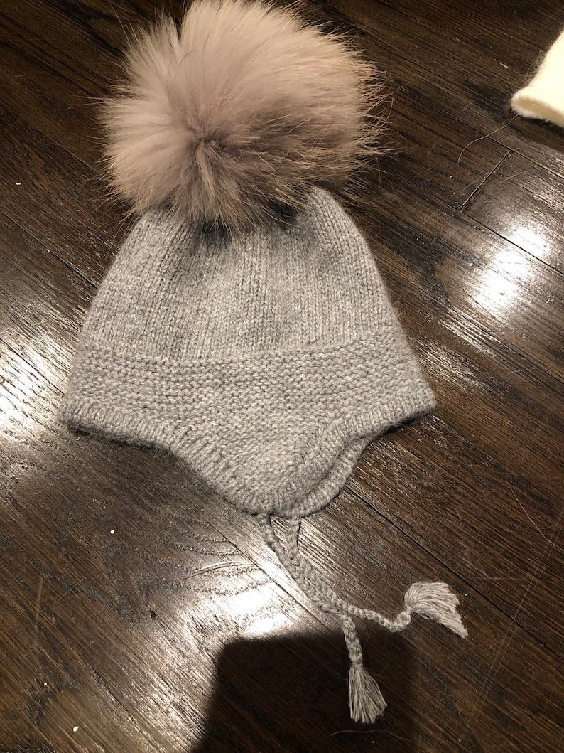 Cashmere Earflap Cashmere Baby Raccoon fur Pom Pom Hat