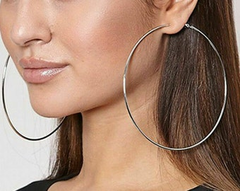 Large Silver hoop earrings Big silver hoops Tribal hoops Simple hoops, Huge hoops sterling silver gypsy hoop earrings
