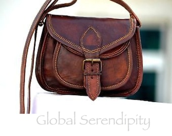 ab76a0a746 Small Handcrafted Genuine Brown Leather Crossbody Handbag Purse Messenger  Shoulder Bag with Front Pocket and Buckle Boho Best Selling Bags