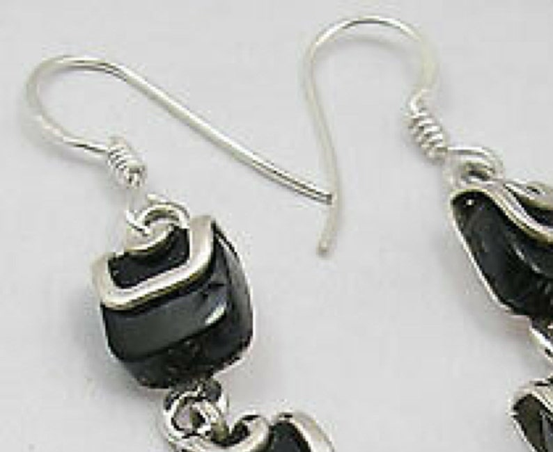 Global Serendipity Black Onyx Dangle Earrings Set in Solid 925 Sterling Silver 2.3 Long 24 Carats 3 Square Natural Onyx Gemstones