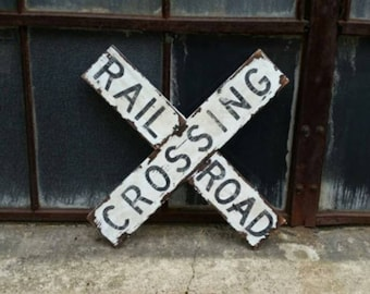 photo about Railroad Crossing Sign Printable named Railroad crossing Etsy