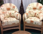 Pair of Natural Barcelona Cane Conservatory Chairs-Poppies Natural cotton cushions , comfy wrap round cushions ,deluxe thicker seat cushions
