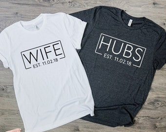 4b136b5e HUBS & WIFE SHIRT | Couples shirt | T Shirt | Engagement Gift | Just  Married | Honeymoon Shirt | Wedding Gift