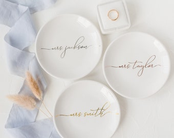 bridal shower gift white ceramic ring bowl or jewelry dish gold polkas custom wedding date personalized ring holders for bride and groom