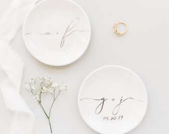 BESTSELLER ENGAGEMENT Gift Ideas, BRIDAL Gift Initial Ring Dish, Gift for Bride and Groom, Engagement Party Gift, Top Bridesmaid Gift