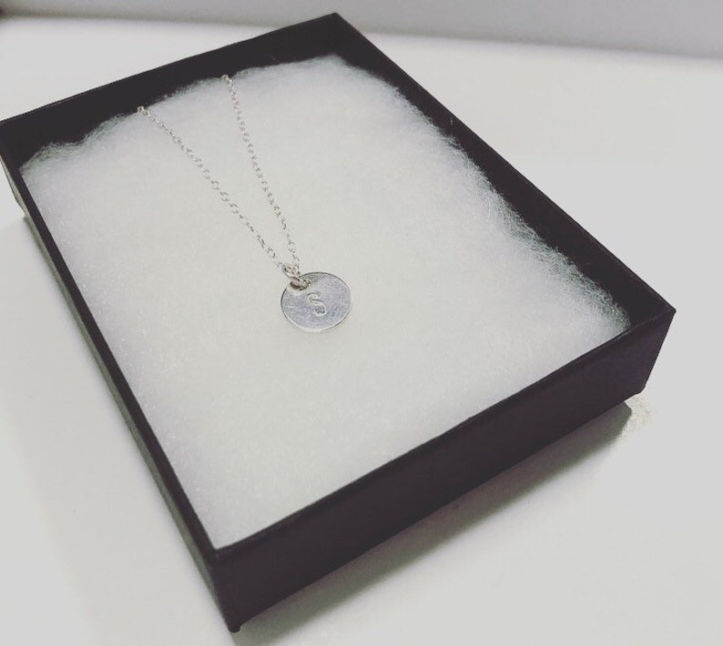 Personalised sterling silver initial disc necklace letter initial necklace circle necklace custom womans necklace silver