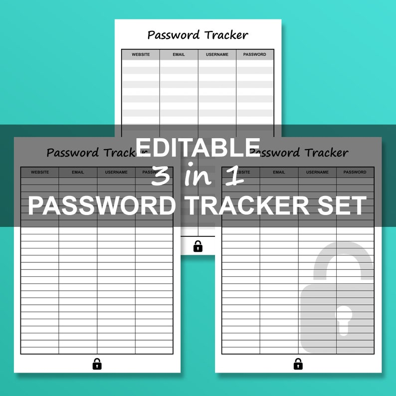 picture relating to Password Tracker Template identify Editable Pword Tracker Template Printable - 3 inside 1 Fastened