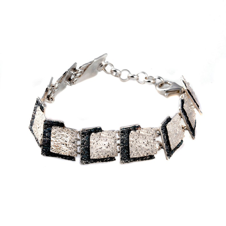 Bracelet collection Anda Sterling silver 15.4 mm wide an exclusive design of contemporary and totally handcrafted jewelry in two colors