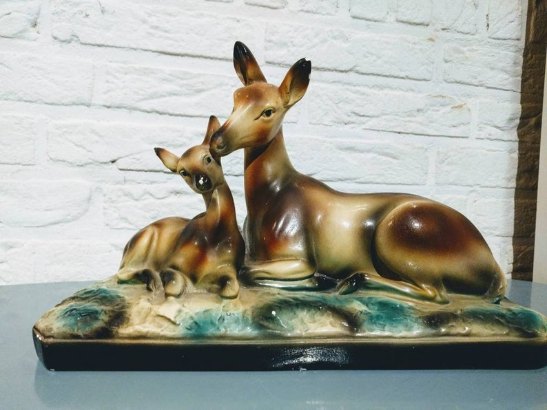 Angelo Biagioni Antique sculpture made of glazed plaster representing a doe and her fawn.\u00a0 A.Biagioni sculptor in Tours