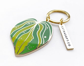 Monstera Leaf Keychain | Gold Metal Keyring - Space and Stars - Cute Spring Jewelry - Summer Statement Piece - Leaf - Cute Nature Gift