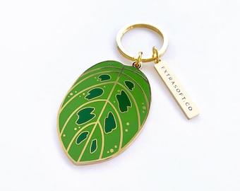 Prayer Plant Leaf Keychain | Gold Plant Charm - Plant Mom Gift Idea - Plant Lady - Tropical - Gardener - Botanical Accessory -  Cute Key Fob