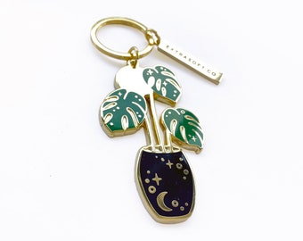 Celestial Monstera Enamel Keychain | Tropical Leaf - Plant Lover Gift - Deliciosa - Houseplant - Moon - Stars - Space Pin - Plant Mom