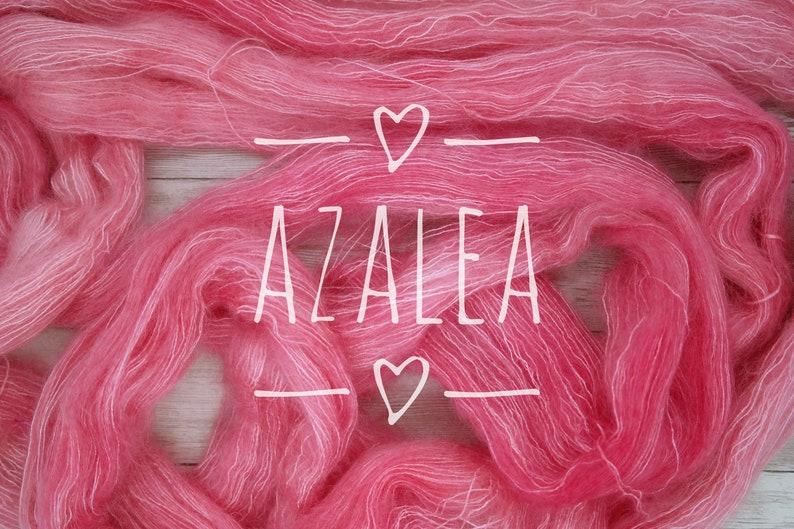 Hand Dyed Yarn-AZALEA on Dreamy Mohair Laceweight Base