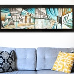 Hand-painted Original Contemporary Art - Urban, textured, dynamic painting with cold colours on canvas - 100x30cm by Meletto