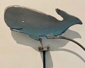 kinetic sculpture - handmade - metal - rustic patina- fun -Whale - motion- Sperm whale