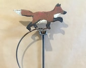 Kinetic Sculpture - hand made - metal - rustic patina- fox -hare- rabbit -motion