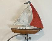 kinetic sculpture - handmade - metal - rustic patina- fun - Sailboat -  motion
