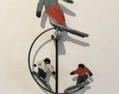 kinetic sculpture - handmade - metal - rustic patina- fun-  ski - snowboard - motion