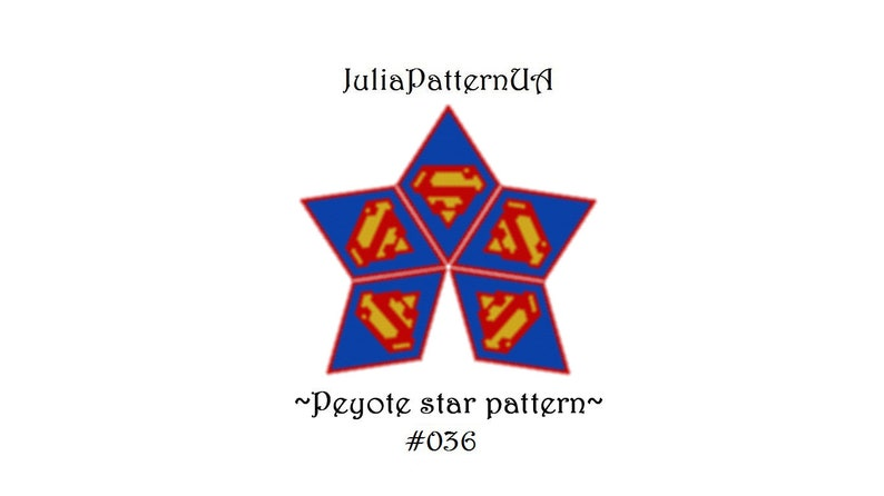 Comics superhero 3D peyote star pattern Peyote beading patterns Beaded star patterns Miyuki delica beads 11 Seed bead patterns