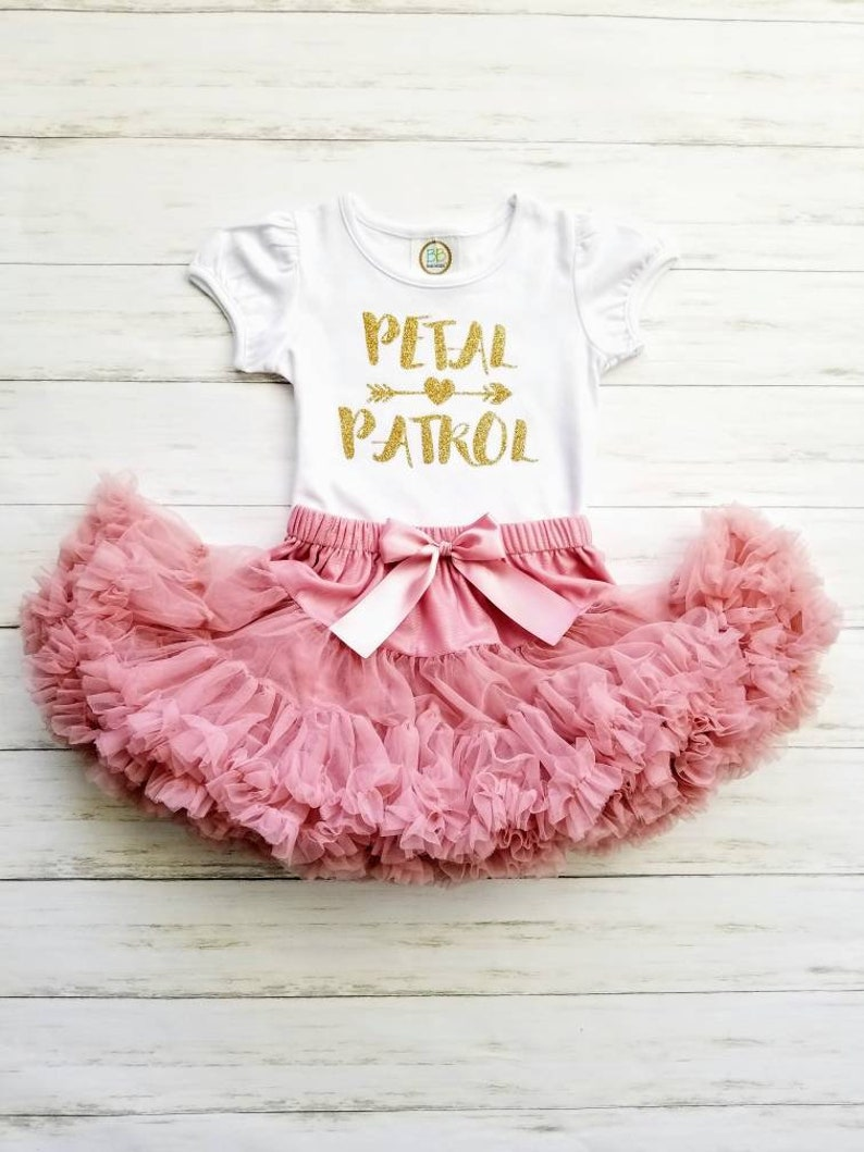 Petal Patrol Outfit Flower Gitl Rehearsal Outfit Flower Girl Outfit Vintage Pink Tutu Skirt