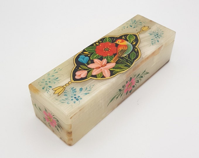 Featured listing image: Jewelry box , Hand painted Marble stone jewellry box, Rose et rossingnol style , Pasar Team