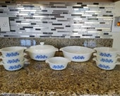 Vintage Anchor Hocking by Fire King - Blue Daisy on Milk Glass