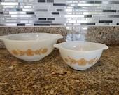 Vintage Gold Butterfly Pyrex 441 443 Cinderella Bowls